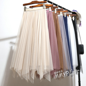 Image 2 - Falda larga plisada de tul Irregular para primavera y otoño, falda de largo de satén plisada, ropa de doble cara, faldas largas de corte en A, plisadas, 2019