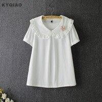 Japanese Style Mori Girls Vintage White Peter Pan Collar Blouse Plus Size Loose Fresh Cute Design