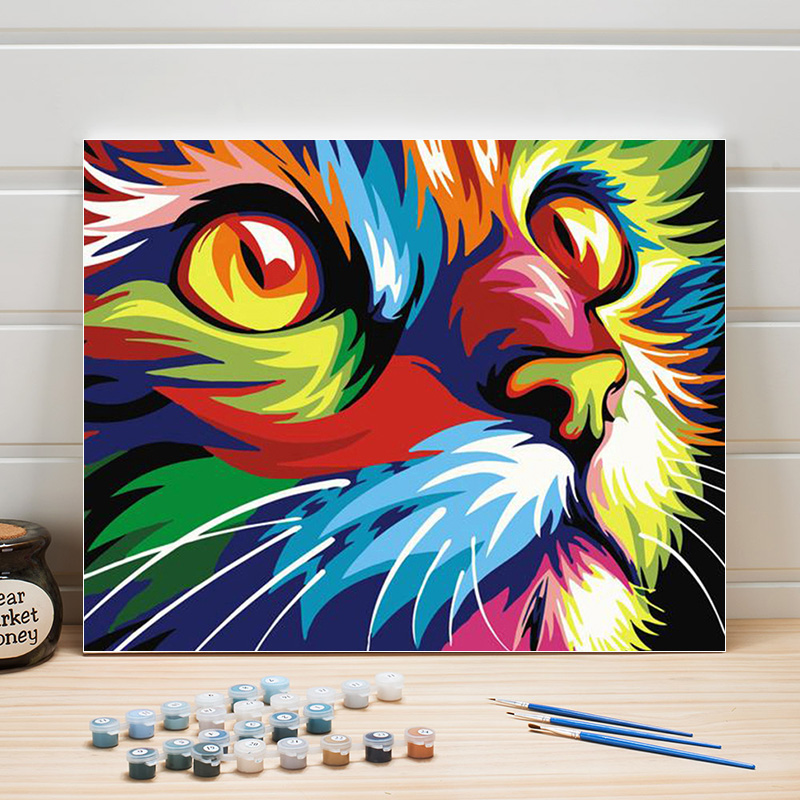 Paint Oil Painting By Number Animal Colorful Cat DIY Wall Pictures For Living Room Canvas Acrylic Coloring Art Adult Drawing Kid