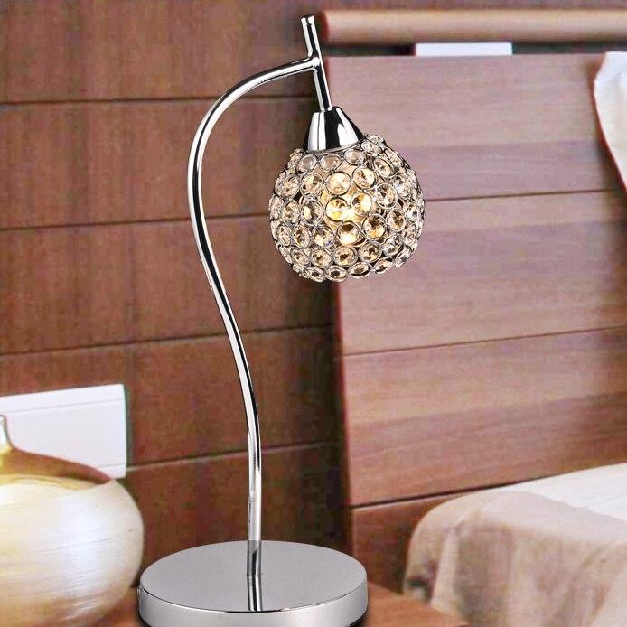 F-shape Modern Crystal Chrome Ball Hanging Bedroom Beside Table Light Stylish Polished Chrome Bar Counter Study Room Desk Lights