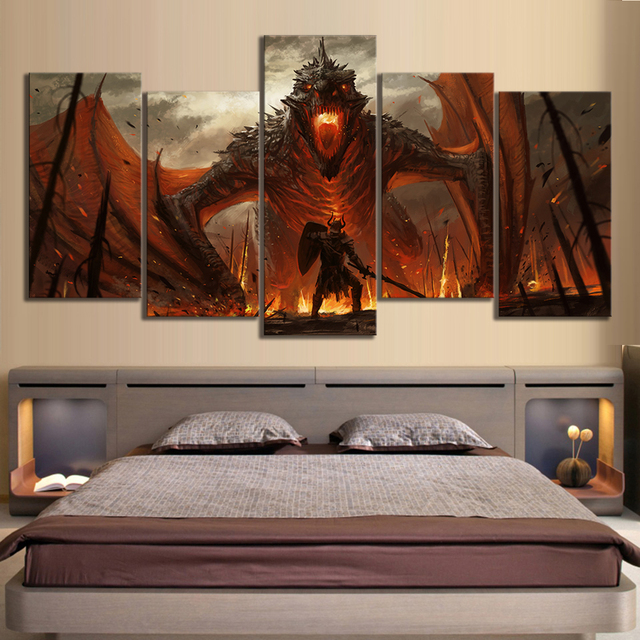5 Piece HD Game of Thrones Dragon Oil Painting on Canvas Fantasy Wall Art for Home Decor