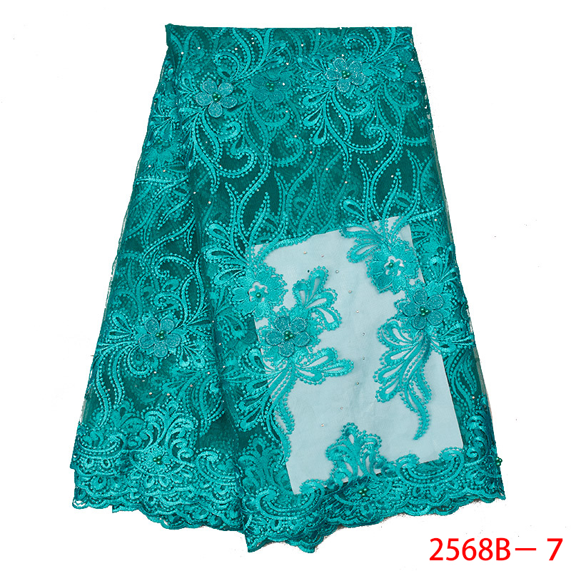 Teal Green Nigerian Embroidery Net Lace Wholesale 3D Tulle Lace Fabric with Beads Hot Sale African