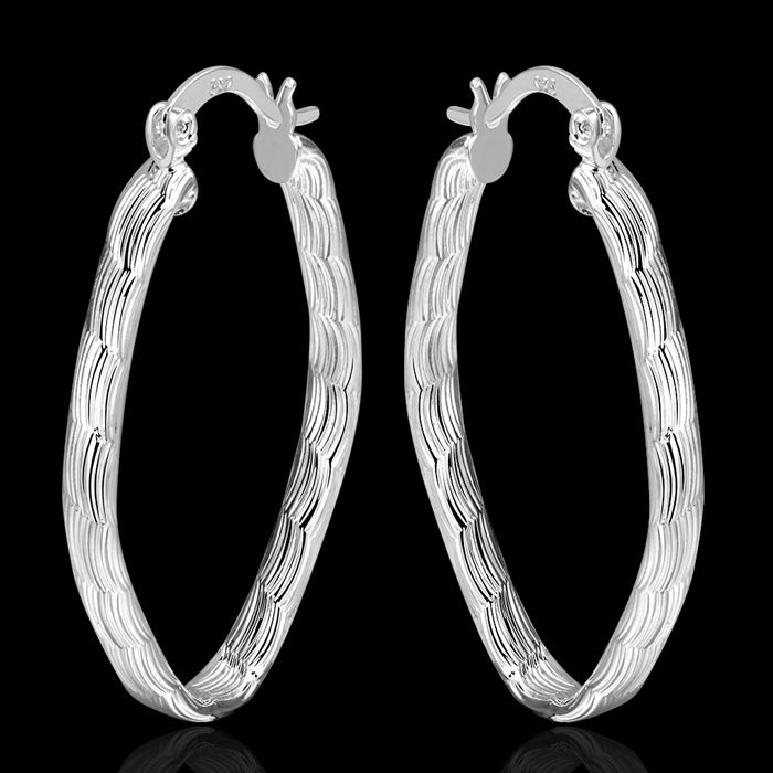 silver plated earrings fashion jewelry earrings beautiful earrings high quality fish texture line earrings qg hb