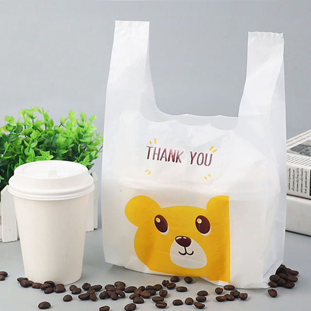 50pcs Thank You Plastic Bag Shopping Bags Supermarket for Kids Birthday Party Decoration Coffee Drink Candy Bags Gift Loot Bags
