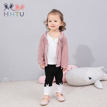 HHTU Kids Clothes Boys Girls Hooded Jackets Baby Outerwear Toddler Childrens Clothing Striped Coat 9M-5T