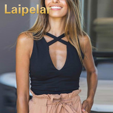 Laipelar Summer Banda Cross Casual Tops Women Tank Top Sexy Hollow Out Sleeveless Black Bustier Crop Fitness Cropped Camis