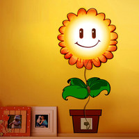 Cartoon 3D Wall Sticker Removable LED Night Light DIY Wallpaper Wall Lamp for Kids Sunflower, Dalmatian, Pink Pig, Departure
