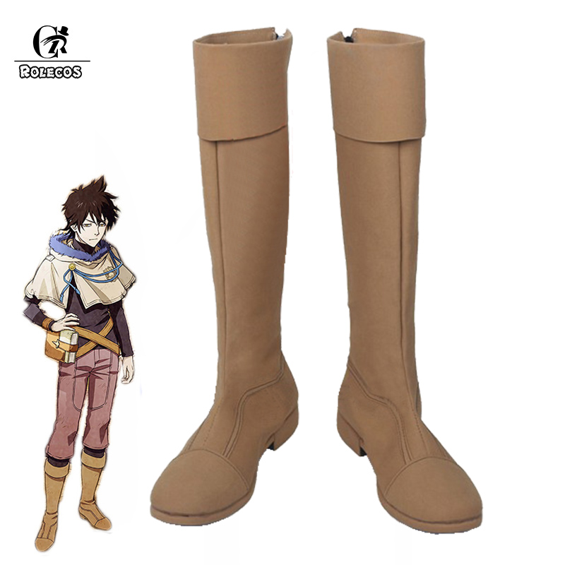 ROLECOS Black Clover Anime Cosplay Shoes Yuno Cosplay Boots Men Shoes Long Boots Cos
