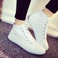Zapatos de Las Mujeres planas de los Talones de Alta Superior de la Lona Alpargatas Mujeres del Otoño del Resorte Pisos Encaje Zapatos Casuales Para Mujer Sapatilha