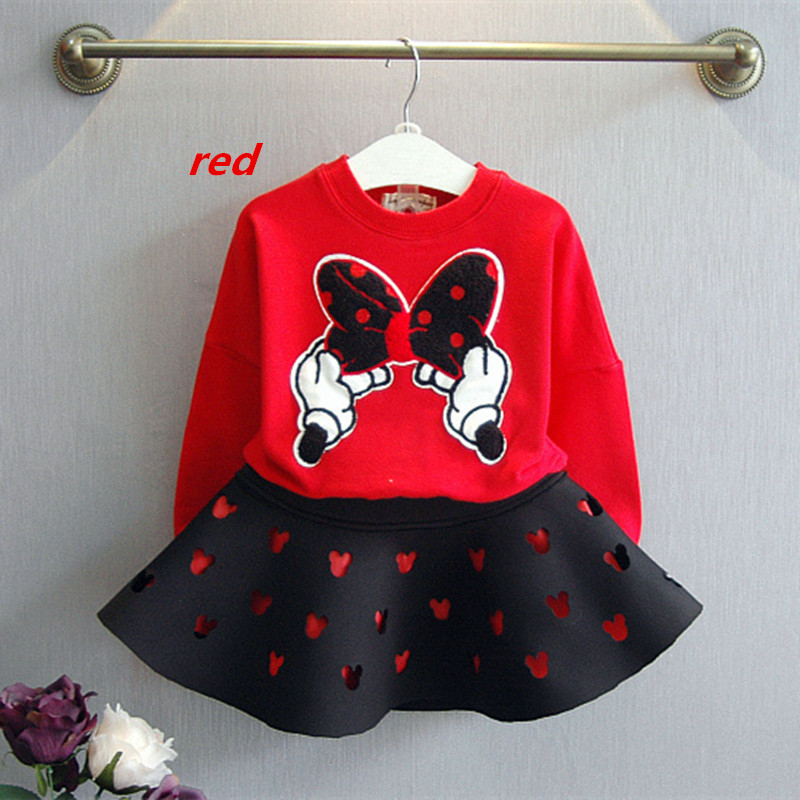 2021 latest spring and autumn piece fitted girls, cartoon bow embroidered sweater hollow horn + skirt suit 3-8 year-old girl set 4