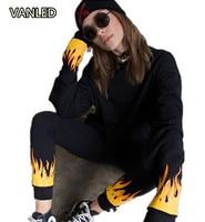 2017 American Style Harajuku Punk Flame Print Bella Sweatshirt Pants Suit Fashion Fire Women Pullover