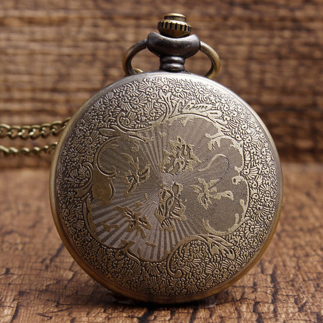 Bronze America Police To Protect and Serve Police Pattern Quartz Pocket Watches Vintage Sculpture Womens Mens Watch with Chain