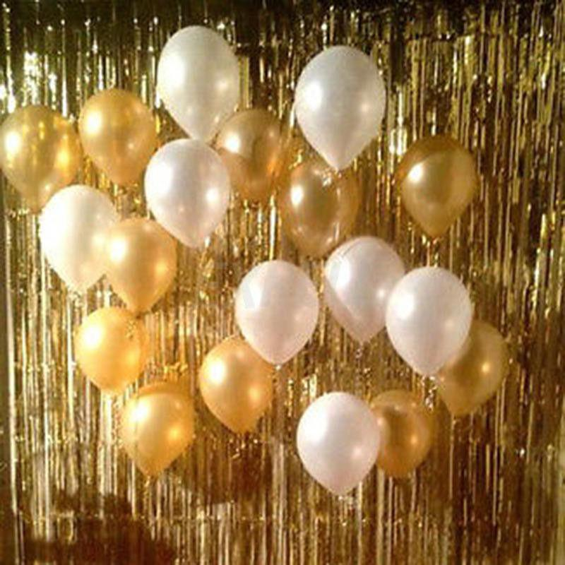 1x1m Gold Foil Fringe Tinsel Curtain Tassel Garlands