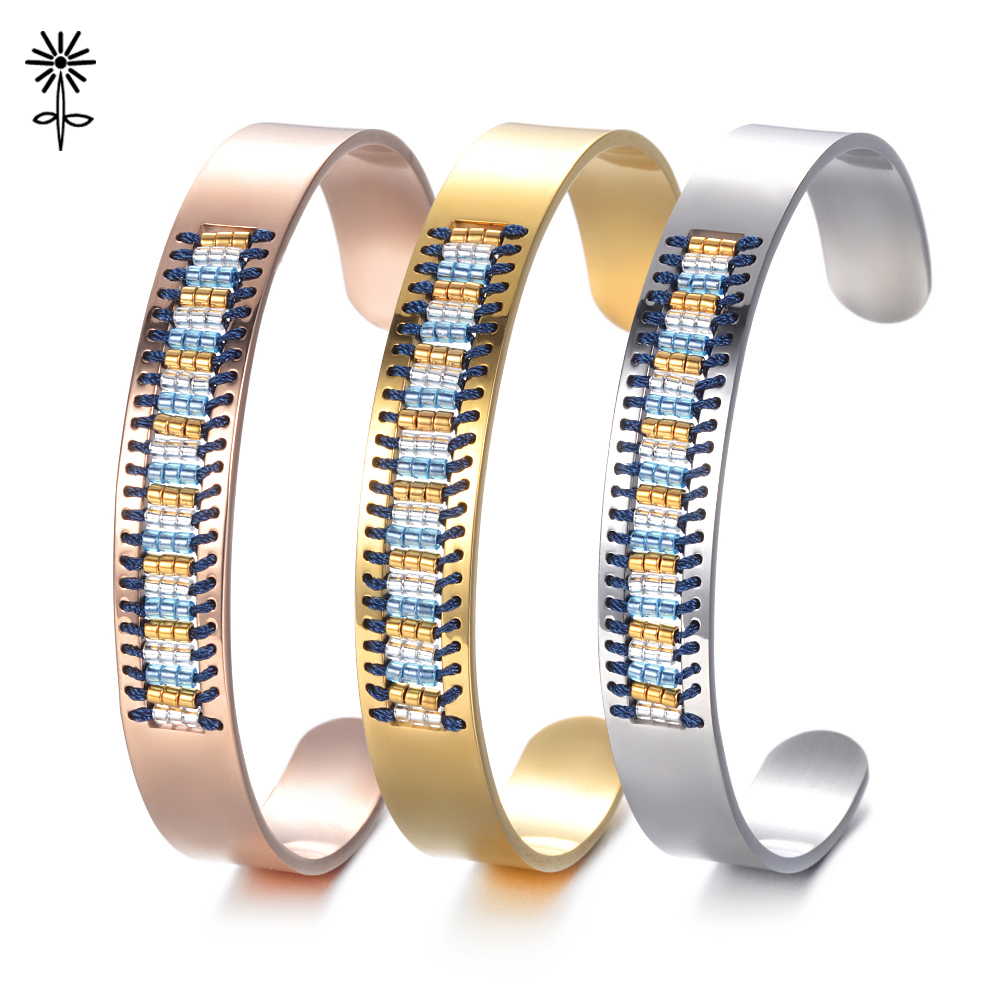 Charme Hommes Femmes Strass Manchette Ouverte en Acier Inoxydable Bijoux Bracelet Jonc