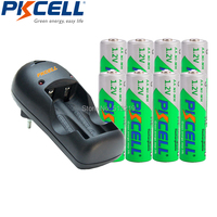 8Pcs PKCELL Pre Charged 2A Rechargeable Battery And 2slot US Plug Charger LED Lights For 1