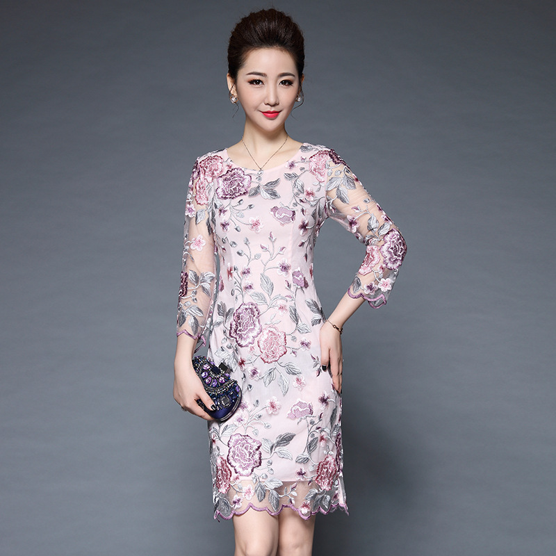 ZXRYXGS Women s 2019 High Quality Gauze Embroidery Elegant Temperament Dress Fashion Large Size 5XL Banquet