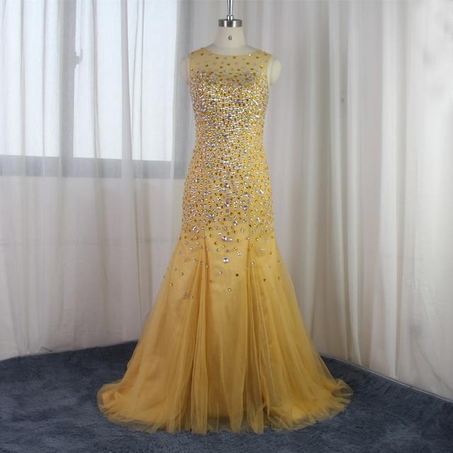 Echt Bild Luxus Strass Kristall Meerjungfrau Abendkleid Hohe ...