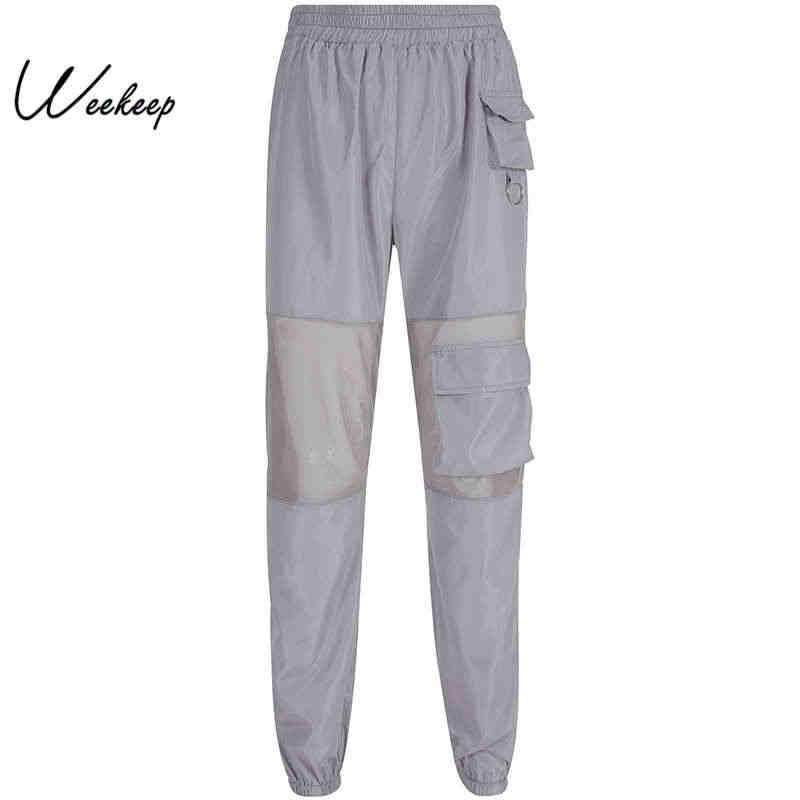 Weekeep/уличная одежда с карманами и сеткой; женские серые брюки-карандаш с высокой талией; брюки-карго; коллекция 2019 года; женские брюки для бега
