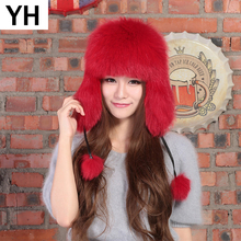 2019 Winter Genuine Real Fox Fur Bomber Hat Women 100 Natural Real Sheepskin Leather Cap Russia Warm Real Fox Fur Bomber Caps cheap Adult Solid Bomber Hats hat-023 adjustable suitable for everyone 100 real natural fox fur 100 real genuine sheepskin leather