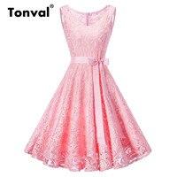 Tonval Plus Size 3XL Women Floral Lace Vintage Dress Pink Retro Tunic Dress V Neck Evening