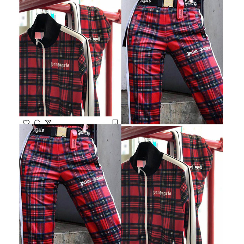 Hip Hop Palm Angels Plaid Sweatpants High Quality Autumn Winter Casual Red Yellow Plaid Palm Angels Stripe Sweatpants Trousers(China)