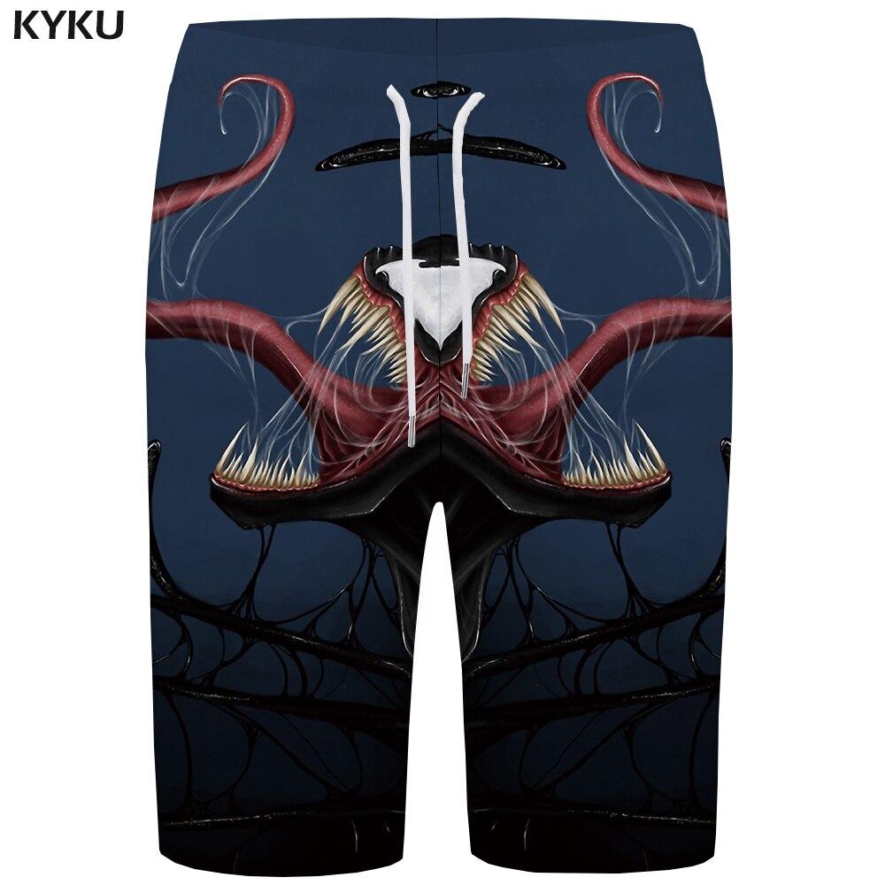 KYKU Brand Venom Board Shorts Men Blue Short Pants Quick Silver Gothic 3d Printed Shorts Harajuku Casual Mens Shorts Summer New