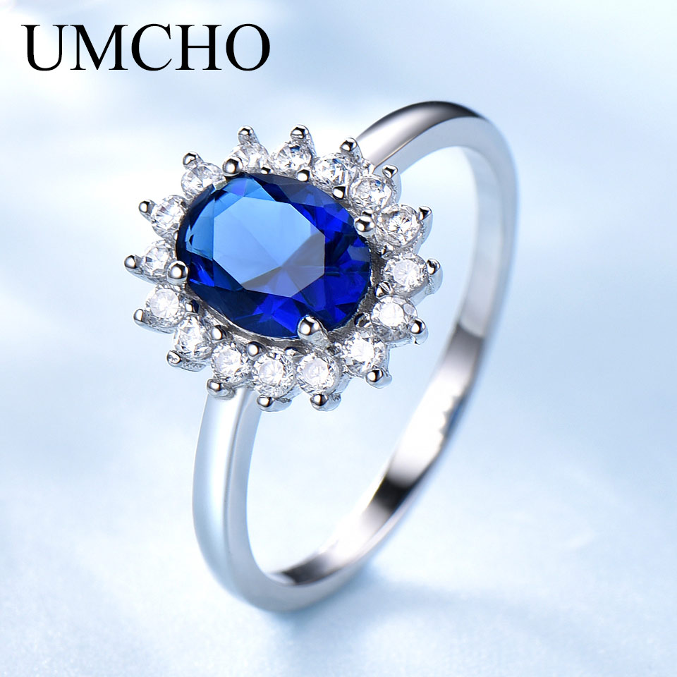 UMCHO Luxury Blue Sapphire Princess Diana Rings For Women Genuine 925 Sterling Silver Romantic Engagement Ring Wedding Jewelry