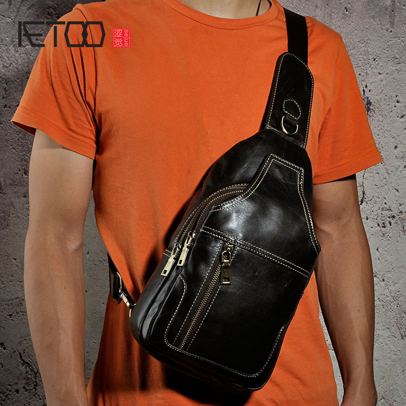 AETOO Vintage Genuine Leather Shoulder Bag Leather Men Chest Bag Small Men Messenger Bags for Man Crossbody Bags Casual Chest Pa designer cowhide genuine leather vintage man bag chest bag men crossbody back packs small shoulder messenger black bags handbags