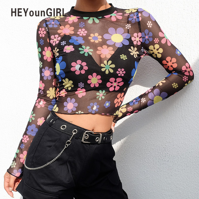 b97763163e HEYounGIRL Black Mesh Sexy T Shirt Women Printed Long Sleeve Crop Tops Tees  See Though Transparent