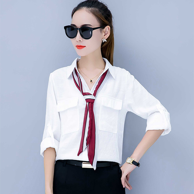 Chemise Femme 2018 Autumn New Casual Women Temperament Tie POLO Loose  Blouse Turn-Down Collar Long Sleeve Student Solid Shirt 1131b415814