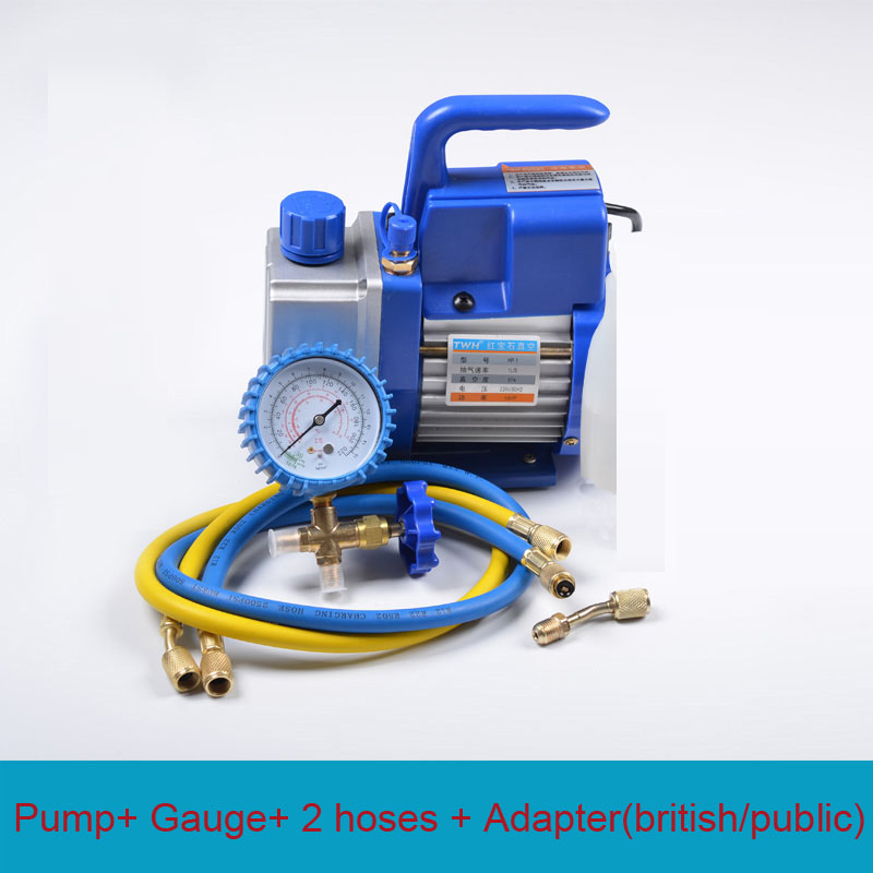 New Single Stage 150W 2.5CFM Air Conditioning Vacuum Pump Deep HVAC Tool AC R410a R134 + Gauge+ 2 Hoses air conditioning