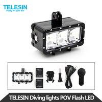 TELESIN POV Flash Dimmable LED Fill Night Light Underwater 30M Waterproof Diving Light Mount Kit For