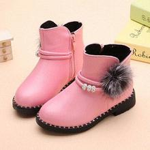2016 New Winter Children Shoes Girls Ankle Boots Fashion Crystal Flat with Short plush Warm Leather Boots Kids Snow Boots 03