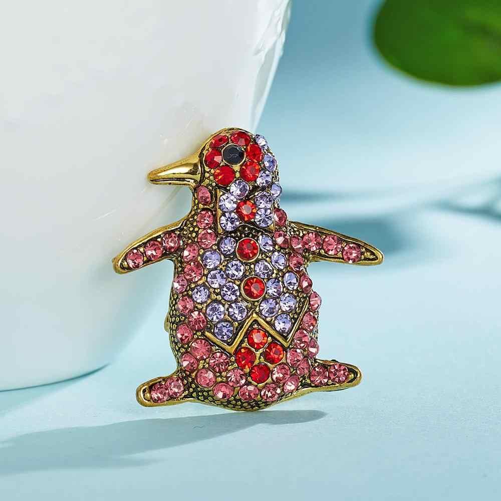 Biru Merah Penguin Penuh Rhinestone Bros Hewan Bentuk Mutiara Kupu-kupu Hewan Pin Bros untuk Wanita Pria Musim Panas Pesta Hadiah Perhiasan