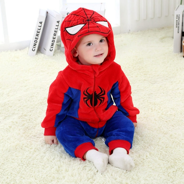 eababf0dc9f2 Baby Boy Girl Hooded Rompers Cartoon Cosplay Costume Newborn Infant Jumpsuit  Super Hero Spiderman Captain America