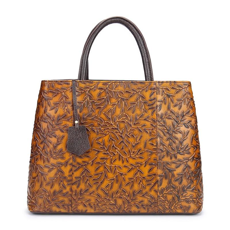 Brush Off Genuine Cow Leather Vintage Embossed Vines Branch Handbags Crossbody Messenger Shoulder Bags Women Crazy Horse Leather