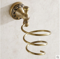 Fashion Durable Antique Brass Blow Hair Dryer Holder wall shelf bathroom shelves Set For Hair Drier