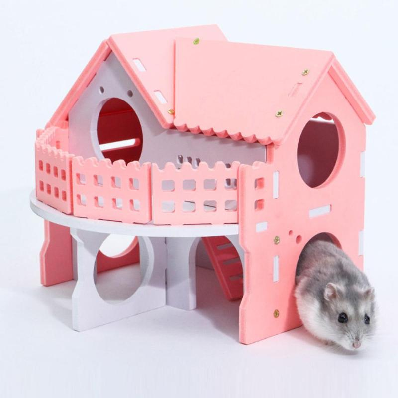 Ecological Cute Hamster House Cages For Rat Mouse  Funny Hamster Nest Net Ecological Double-deck Ladder Villa Colorful Bed House #3