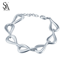 SA SILVERAGE 925 Silver Bracelets For Girl Geometric Real Silver Fine Jewelry Party Bright Spot
