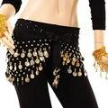 Moda Gasa de La Danza India Danza Del Vientre Hip Bufanda de 3 Monedas Filas Cinturón Falda Nueva
