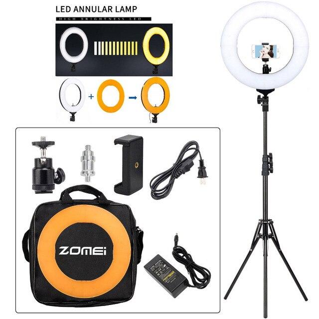 "ZOMEI 14 ""ניתן לעמעום LED סטודיו טבעת אור צילום תאורה איפור מנורת עבור מצלמה תמונה טלפון Selfie Youtube וידאו ירי"