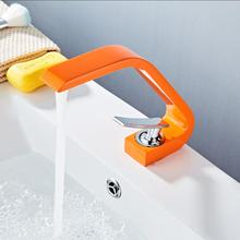 Luxury High Quality Orange Basin Faucet Modern Water Tap Single Handle Waterfall Basin Mixer Tap Hot & Cold Water Sink Tap 6112 все цены