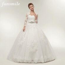 Fansmile שתי חתיכה ארוך שרוול מעיל חתונה שמלות 2020 בתוספת גודל כלה כדור כותנות Vestido de noiva Robe De Mariage FSM 122T