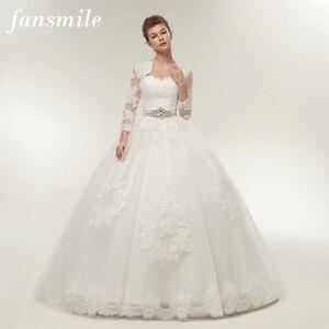 Image 1 - Fansmile שתי חתיכה ארוך שרוול מעיל חתונה שמלות 2020 בתוספת גודל כלה כדור כותנות Vestido de noiva Robe De Mariage FSM 122T