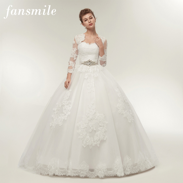 Fansmile Two Piece Long Sleeve Jacket Wedding Dresses Plus Size Bridal Ball Gowns Robe De Mariage FSM-122T