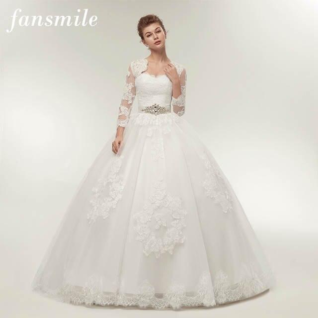 Online Shop Fansmile Two Piece Long Sleeve Jacket Wedding Dresses 2017 Plus  Size Bridal Ball Gowns Vestido de noiva Robe De Mariage FSM-122T  85a0145b31d4