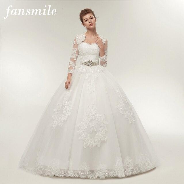Женское платье с длинным рукавом Fansmile, свадебное платье из двух предметов, модель 2020