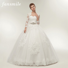 Jacket Wedding-Dresses Bridal-Ball Fansmile Two-Piece Plus-Size Gowns Robe-De-Mariage