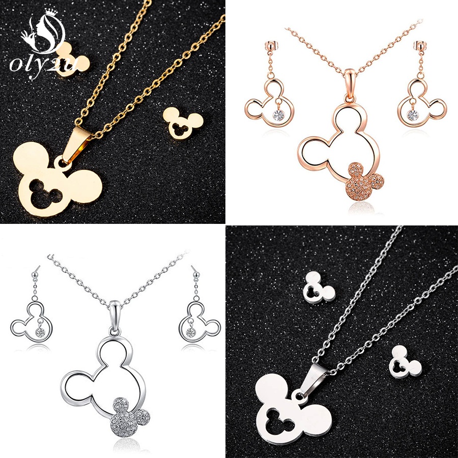 Oly2u Cute Mickey Minnie Earrings for Women Kids Animal Mouse Mickey Necklace Pendant Jewelry Set Girls Christmas Gifts Bijoux in Jewelry Sets from Jewelry Accessories