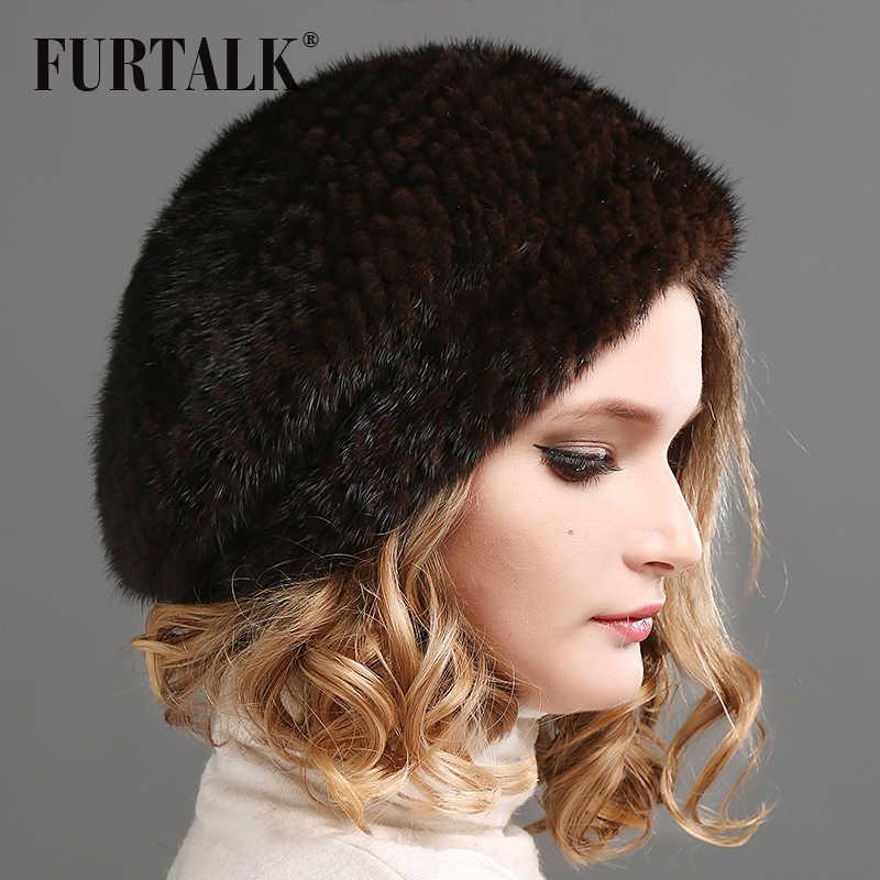 ... FURTALK 100% natural mink fur hat women winter fur hats mink fur beret  ... 23dcb2bd2148